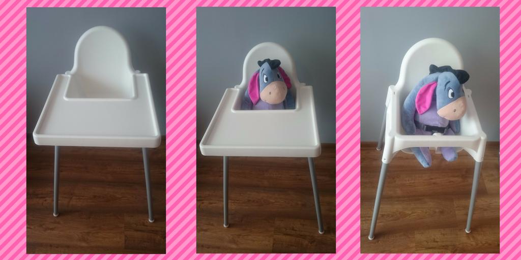 Ikea Antiliop krzeselko dokarmienia wkolorze białym.
