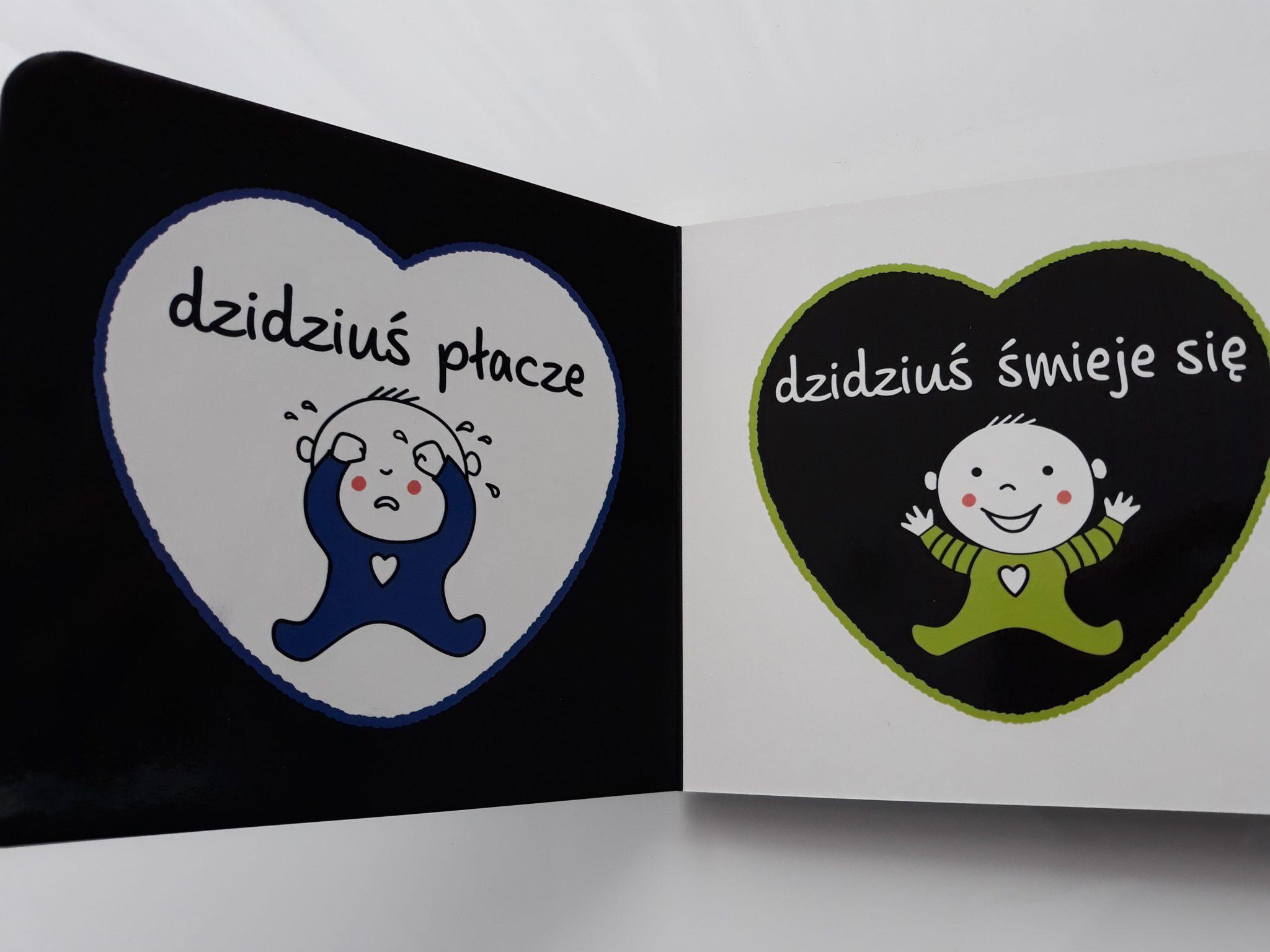 Książki dla niemowląt kontrastowe Świat Dzidziusia: dzidziuś płacze, dzidziuś śmieje się.