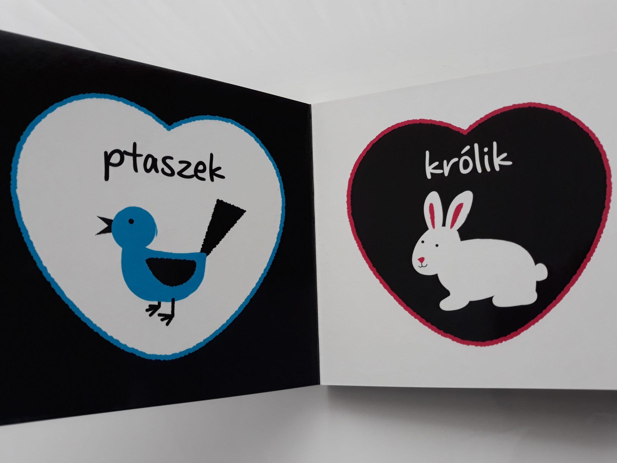 Książki dla niemowląt kontrastowe Zwierzęta izwierzątka, czarno-białe obrazki.