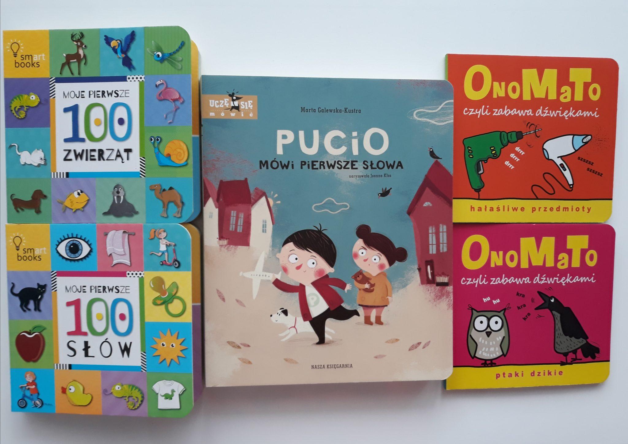 Książki dla dzieci (Pucio, Onomato, 100 pierwszych słów). Prezent naroczek/
